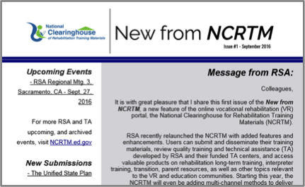 New from NCRTM - screenshot of one of the newsletters